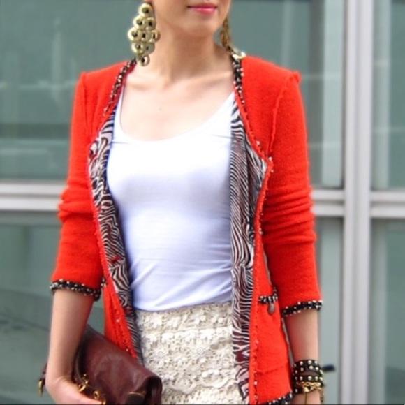 Zara Red Popes Fantasy Tweed Jacket S